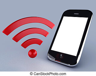 wifi network and mobile phone - image of wifi and mobile...