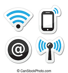 Wifi network, internet zone icons - Black and blue labels - ...