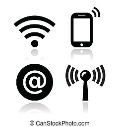 Wifi network, internet zone icons - Black modern icons with...
