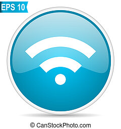 wifi network wireless hotspot button blue glossy round vector icon on white background