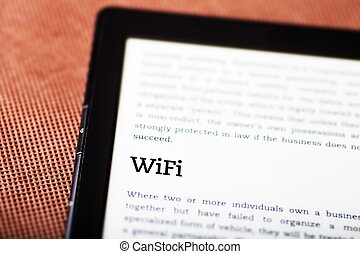 Wifi on ebook, tablet concept