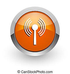 wifi orange glossy web icon