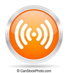 wifi, orange, silber, metallisch, metallisch, chrom, web, kreis, glänzend, ikone