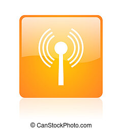 wifi orange square glossy web icon