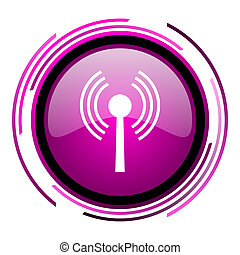 Wifi pink glossy web icon isolated on white background