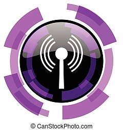 Wifi pink violet modern design vector web and smartphone icon. Round button in eps 10 isolated on white background.