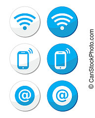 wifi, réseau, internet, zone, bleu