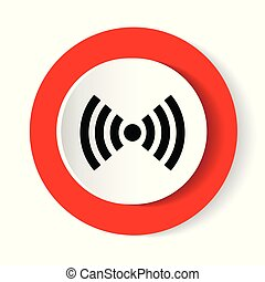 Wifi red isolated on white background. Vector illustration. white modern web vector design and smartphone icon. Round button