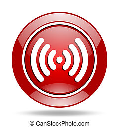 wifi red web glossy round icon