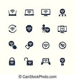 Wifi related vector icon set