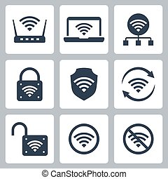 Wifi Related Vector Icon Set in Glyph Style 2