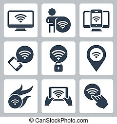 Wifi Related Vector Icon Set in Glyph Style