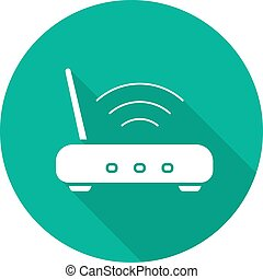 Wifi router flat design long shadow icon