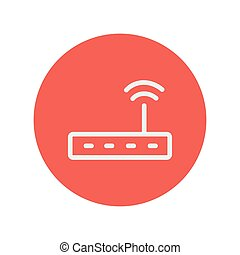 Wifi router modem thin line icon