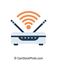 Wifi Router Wireless Internet Connection Icon Vector...