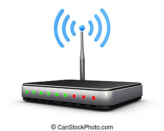 wifi router with antenna and signal blue