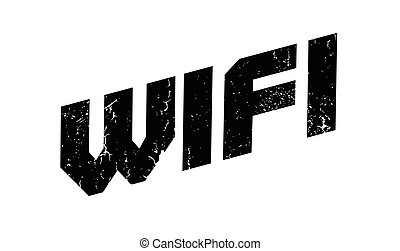 Wifi rubber stamp. Grunge design with dust scratches....