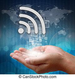 wifi, símbolo, en, mano