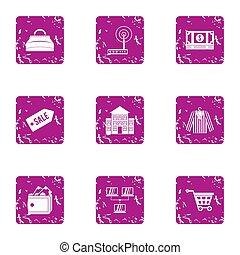 Wifi shop icons set, grunge style