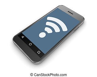 Wifi Sign on Mobil Phone Screen , This is a 3d Rendered...