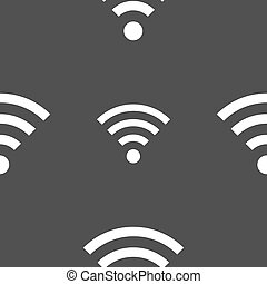 Wifi sign. Wi-fi symbol. Wireless Network icon zone. Seamless pattern on a gray background. Vector