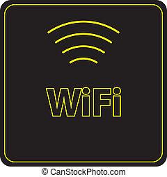 WiFi Sign yellow on black