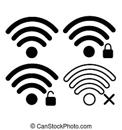 Wifi Signal Icon Free, Locked Wireless Connection Flat...
