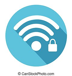 Wifi Signal Icon Locked Wireless Connection Flat Vector...
