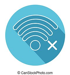 Wifi Signal Icon No Wireless Connection Flat Vector...