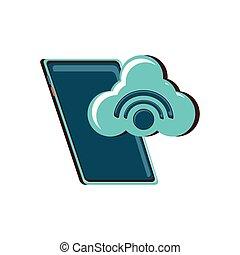 wifi, signal, smartphone, nuage, calculer