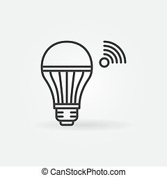 Wifi Smart Light Bulb vector outline icon
