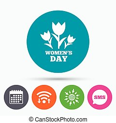 8 March Women's Day sign icon. Flowers symbol.