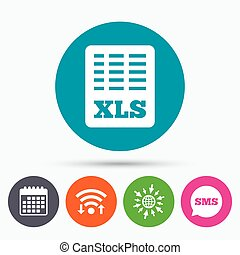 Excel file document icon. Download xls button. - Wifi, Sms ...