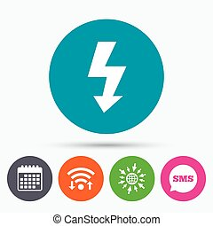 Photo flash sign icon. Lightning symbol. - Wifi, Sms and ...