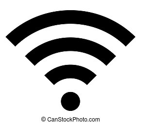 Wifi symbol icon - black simple, isolated - vector