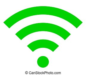 Wifi symbol icon - green simple, isolated - vector
