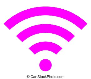 Wifi symbol icon - purple simple, isolated - vector