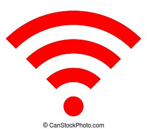 Wifi symbol icon - red simple, isolated - vector