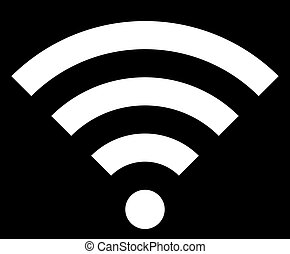 Wifi symbol icon - white simple, isolated - vector