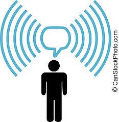 wifi, symbol, mann, reden, auf, radio, vernetzung