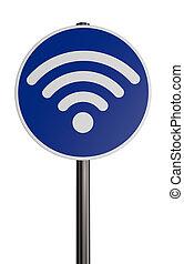 wifi symbol on roadsign - 3d rendering