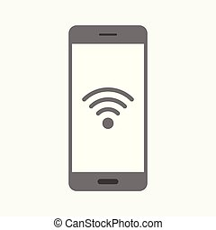 Wifi technology icon with smartphone on white background
