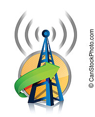 wifi tower connected illustration design over a white...