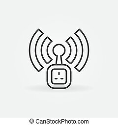 Wifi UK Smart Socket vector icon in thin line style