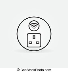 Wifi UK Smart Socket vector round concept outline icon