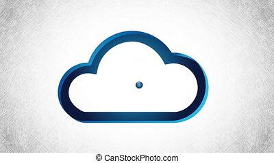 wifi, und, wolke, design, video, animation
