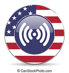 Wifi usa design web american round internet icon with shadow on white background.