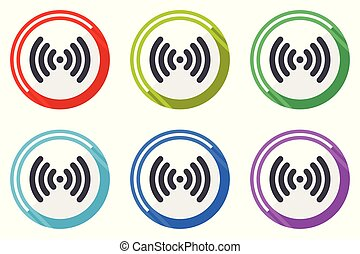 Wifi vector icon set. Colorful flat design web icons on white background in eps 10.