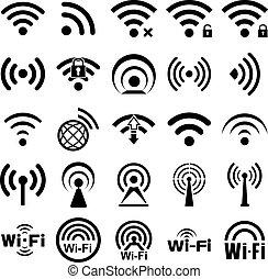 wifi, venti, set, cinque, icone