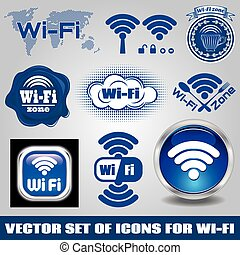 wifi, verschieden, satz, technologie- ikonen
